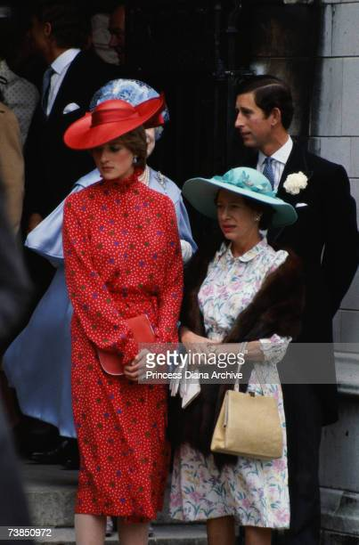 Lady Diana Spencer with her fiance Prince Charles and Princess Margaret at the wedding of Nicholas Soames and Catherine Weatherall at St Margaret's...