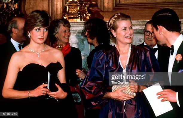 Lady Diana Spencer With Prince Charles And Princess Grace Of Monaco At Goldsmiths Hall In The City Of London Attending A Fundraising Concert And...