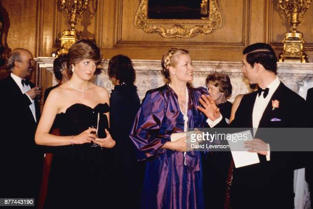Lady Diana Spencer with Prince Charles and Princess Grace of Monaco at a fundraising Concert and reception in aid of the Royal Opera House
