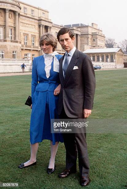 Lady Diana Spencer With Prince Charles In The Gardens Of Buckingham Palace On The Day They Announced Their Engagement