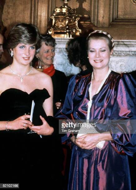 Lady Diana Spencer With Princess Grace Of Monaco At Goldsmiths Hall In The City Of London Attending A Fundraising Concert And Reception In Aid Of The...