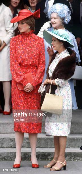 Lady Diana Spencer with the Queen Mother and Princess Margaret during Nicholas Soames' wedding in Westminster London 4th June 1981