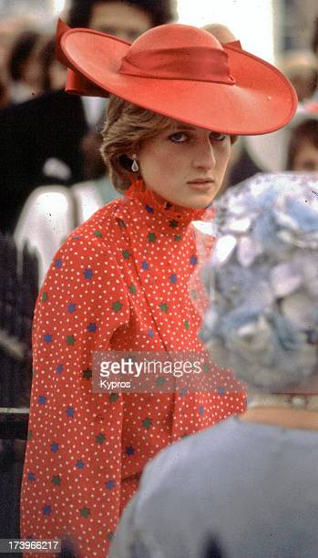 Lady Diana Spencer with the Queen Mother during Nicholas Soames' wedding in Westminster London 4th June 1981