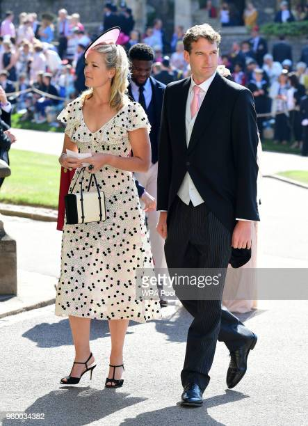 Lady Edwina Louise Grosvenor and Dan Snow arrive at St George's Chapel at Windsor Castle before the wedding of Prince Harry to Meghan Markle on May...