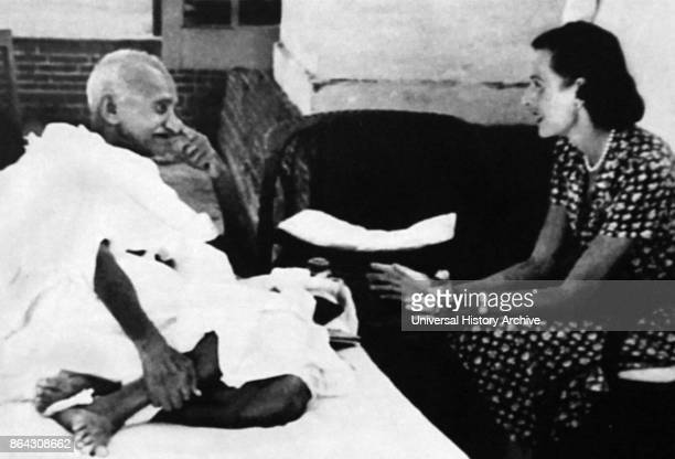 Lady Edwina Mountbatten visits Mahatma Gandhi during his hunger strike following Indian Partition 1947 Mohandas Karamchand Gandhi Gandhi was the...
