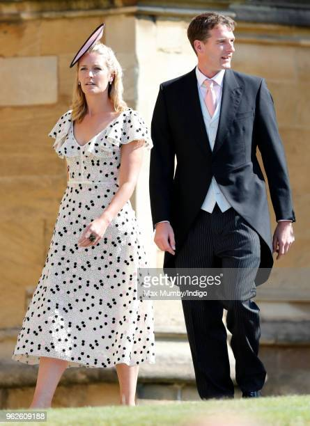 Lady Edwina Snow and Dan Snow attend the wedding of Prince Harry to Ms Meghan Markle at St George's Chapel Windsor Castle on May 19 2018 in Windsor...