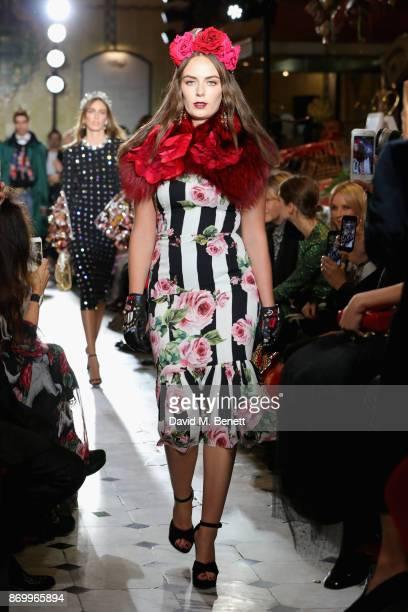 Lady Eliza Manners walks the Dolce Gabbana Italian Christmas catwalk show at Harrods on November 2 2017 in London England
