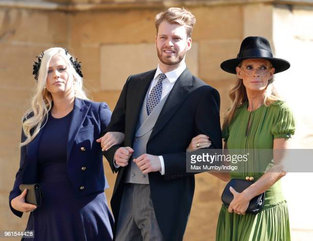 Lady Eliza Spencer Louis Spencer Viscount Althorp and Victoria Aitken attend the wedding of Prince Harry to Ms Meghan Markle at St George's Chapel...