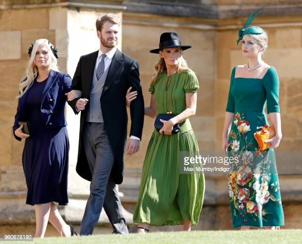 Lady Eliza Spencer Louis Spencer Viscount Althorp Victoria Lockwood and Lady Kitty Spencer attend the wedding of Prince Harry to Ms Meghan Markle at...