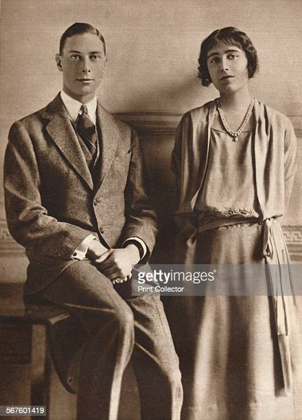'Lady Elizabeth Bowes Lyon and the Duke of York upon the announcement of their engagement' 1923 From Our King Queen and the Royal Princesses [Odhams...