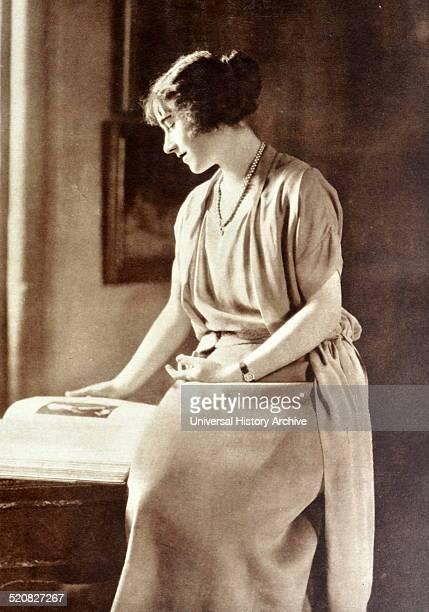 Lady Elizabeth Bowes Lyon is shown reading a book at Glamis Castle Scotland