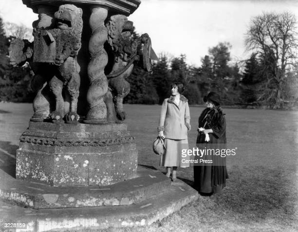 Lady Elizabeth BowesLyon with her mother the Countess of Strathmore at Glamis Castle her childhood home in Angus