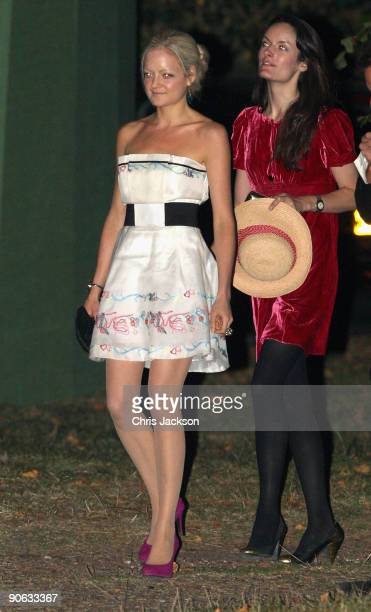 Lady Eloise Anson arrives back from the wedding of Lord Fredrick Windsor and Sophie Winkleman for a reception at Lady Annabel Goldsmith's house...