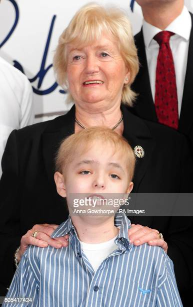 Lady Elsie Robson with Cameron Angus aged 8 from Gosforth Newcastle who is receiving treatment for cancer during a press conference held to announce...