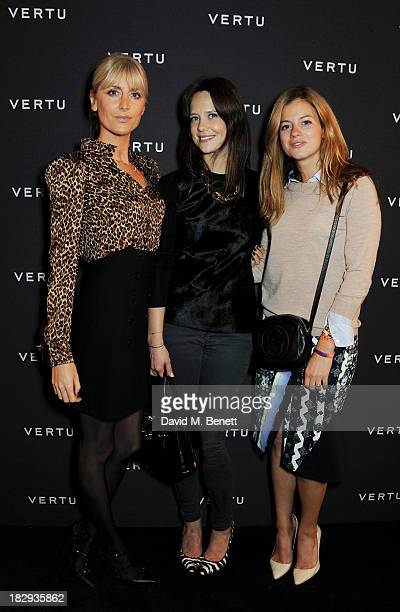 Lady Emily Compton Arabella Musgrave and guest attend the Vertu launch of the new Constellation smartphone at One Mayfair on October 2 2013 in London...