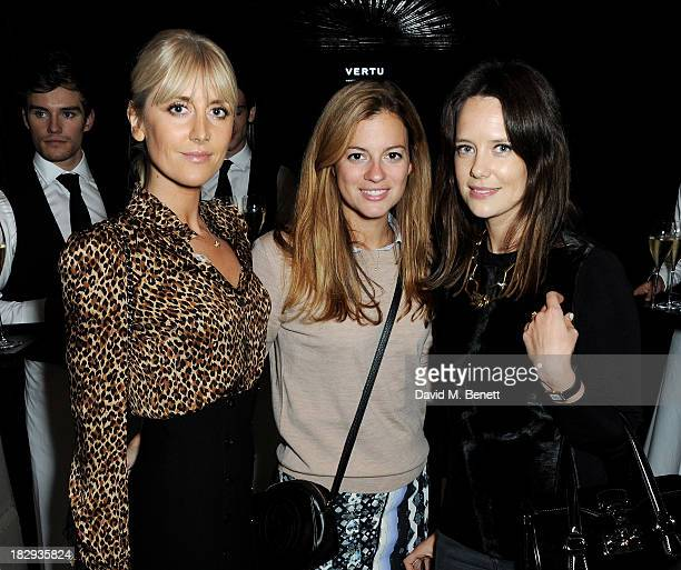 Lady Emily Compton guest and Arabella Musgrave attend the Vertu launch of the new Constellation smartphone at One Mayfair on October 2 2013 in London...