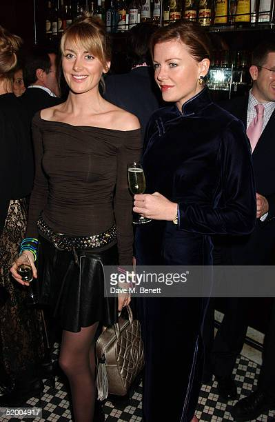 Lady Emily Copton and Eimear Montgomerie attend the Marco Pierre White and Frankie Dettori hosted Conservative Party General Election Campaign Fund...