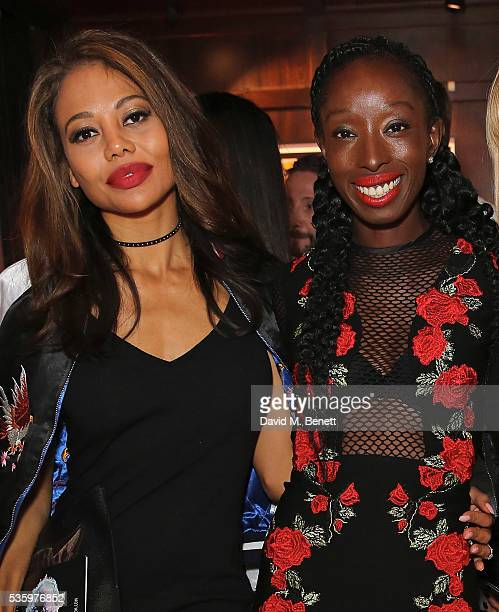 Lady Emma McQuiston Viscountess Weymouth and Eunice Olumide attend the Olumide Gallery's new exhibition exploring socioeconomic issues through...