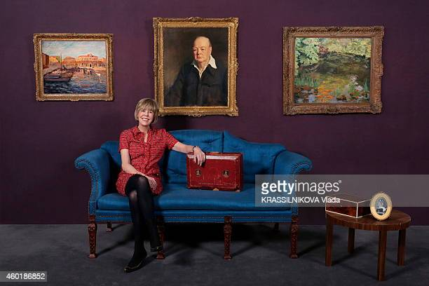 Lady Emma Soames the granddaughter of Winston Churchill poses to announce the Auction sales of Winston Churchill painting at Sotheby in London with...