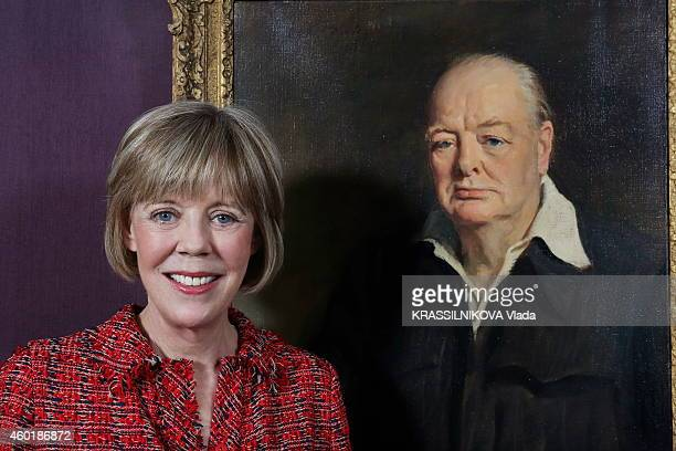 Lady Emma Soames the granddaughter of Winston Churchill poses to announce the Auction sale of Winston Churchill painting at Sotheby's in London near...