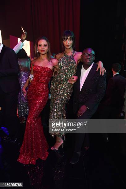 Lady Emma Weymouth Jourdan Dunn and Edward Enninful attend the after party of the 65th Evening Standard Theatre Awards In Association With Michael...