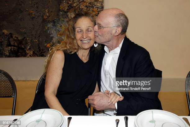 Lady Evelyn Stern and Artist Anselm Kiefer attend the 'Fur Andrea Emo' Anselm Kiefer's Exhibition at Thaddeus Ropac Gallery on February 10 2018 in...