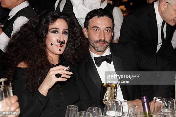 Lady Fag and Ricardo Tisci attend the 5th Annual amfAR Inspiration Gala at the home of Dinho Diniz on April 10 2015 in Sao Paulo Brazil