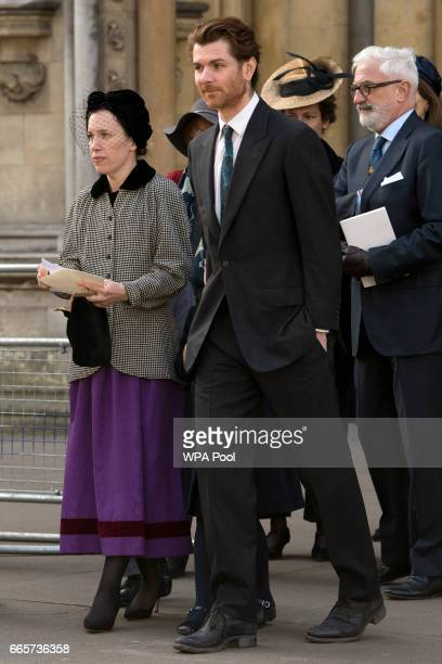 Lady Frances ArmstrongJones daughter of late Lord Snowdon and her husband Rodolphe von Hofmannsthal arrive for a Service of Thanksgiving for the life...