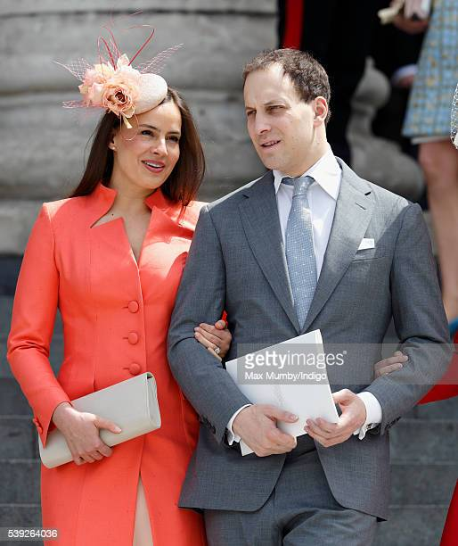 Lady Frederick Windsor and Lord Frederick Windsor attend a national service of thanksgiving to mark Queen Elizabeth II's 90th birthday at St Paul's...