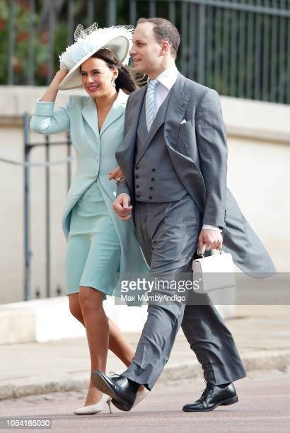 Lady Frederick Windsor and Lord Frederick Windsor attend the wedding of Princess Eugenie of York and Jack Brooksbank at St George's Chapel on October...