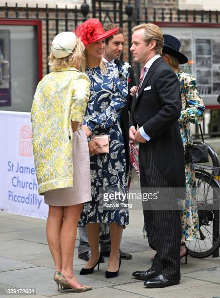 Lady Gabriella Kingston and Thomas Kingston attend Flora Alexandra Ogilvy and Timothy Vesterberg's marriage blessing at St James's Piccadilly on...