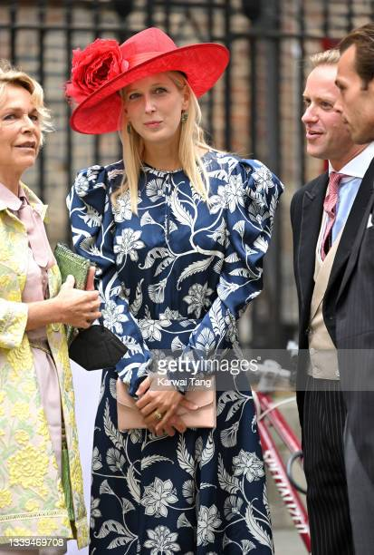 Lady Gabriella Kingston attends Flora Alexandra Ogilvy and Timothy Vesterberg's marriage blessing at St James's Piccadilly on September 10, 2021 in...
