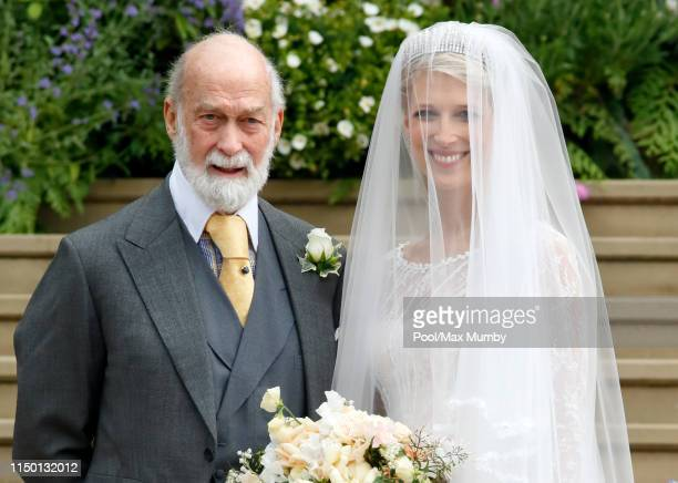 Lady Gabriella Windsor accompanied by her father Prince Michael of Kent arrives for her wedding to Thomas Kingston at St George's Chapel on May 18,...