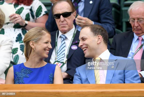 Lady Gabriella Windsor and Lord Frederick Windsor sit in the royal box on day three of the Wimbledon Tennis Championships at the All England Lawn...