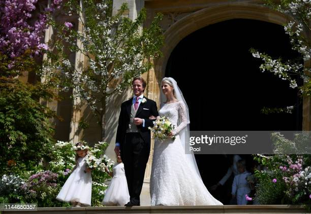 Lady Gabriella Windsor and Thomas Kingston leave after marrying in St George's Chapel on May 18 2019 in Windsor England Photo by Victoria Jones WPA...