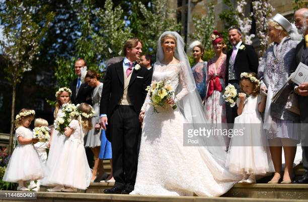 Lady Gabriella Windsor and Thomas Kingston leave after marrying in St George's Chapel on May 18, 2019 in Windsor, England. (Photo by Victoria Jones -...