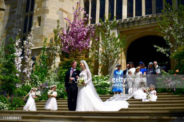 Lady Gabriella Windsor and Thomas Kingston pose after their wedding at St George's Chapel Windsor Castle on May 18 2019 in Windsor England