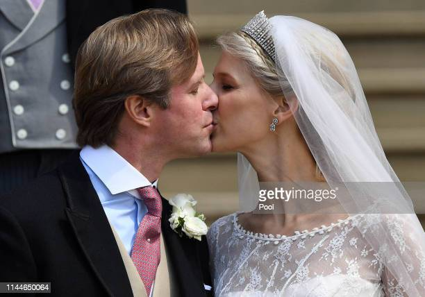 Lady Gabriella Windsor and Thomas Kingston share a kiss on the steps after marrying in St George's Chapel on May 18 2019 in Windsor England Photo by...