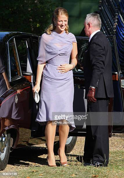 Lady Gabriella Windsor arrives at Lady Annabel Goldsmith's house Ormeley Lodge en route to the wedding of Lord Frederick Windsor and Sophie Winkleman...