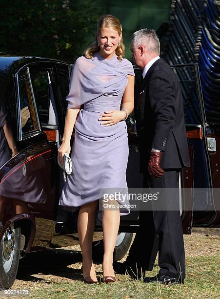 Lady Gabriella Windsor arrives at Lady Annabel Goldsmith's house Ormeley Lodge en- route to the wedding of Lord Frederick Windsor and Sophie...
