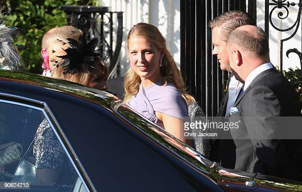 Lady Gabriella Windsor leaves Lady Annabel Goldsmith's house Ormeley Lodge en route to the wedding of Lord Frederick Windsor and Sophie Winkleman at...