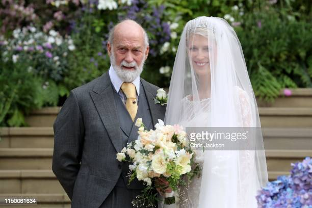 Lady Gabriella Windsor with her father Prince Michael of Kent for her wedding to Mr Thomas Kingston at St George's Chapel on May 18, 2019 in Windsor,...
