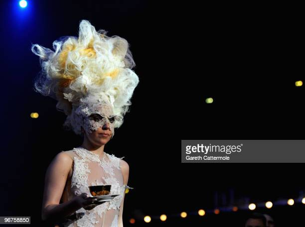 Lady Gaga accepts an award on stage at The Brit Awards 2010 at Earls Court on February 16 2010 in London England
