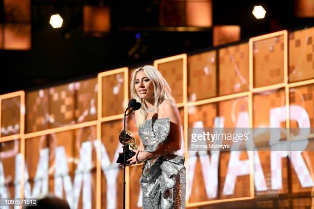 Lady Gaga accepts Best Pop Duo/Group Performance for 'Shallow' onstage during the 61st Annual GRAMMY Awards at Staples Center on February 10 2019 in...