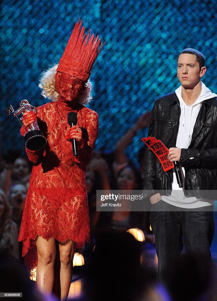 Lady Gaga accepts her award from Eminem onstage during the 2009 MTV Video Music Awards at Radio City Music Hall on September 13, 2009 in New York City.