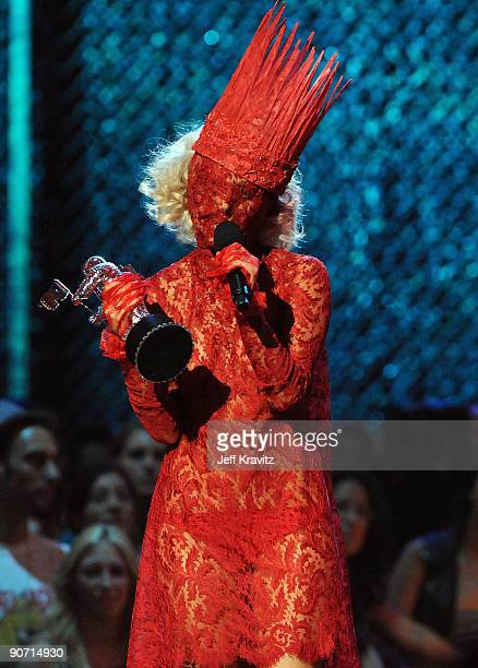 Lady Gaga accepts her award onstage during the 2009 MTV Video Music Awards at Radio City Music Hall on September 13 2009 in New York City