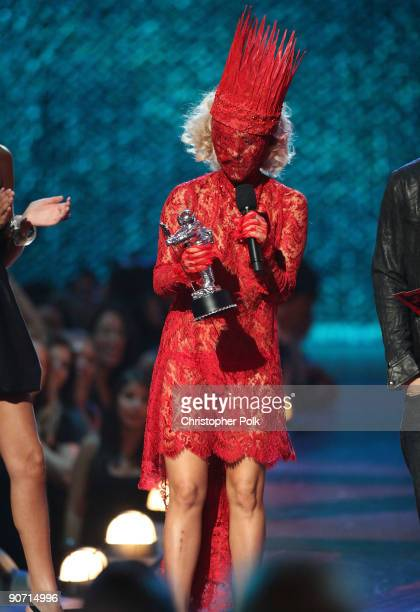 Lady Gaga accepts the award for 'Best New Artist' during the 2009 MTV Video Music Awards at Radio City Music Hall on September 13 2009 in New York...
