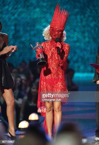 """Lady Gaga accepts the award for """"Best New Artist"""" during the 2009 MTV Video Music Awards at Radio City Music Hall on September 13, 2009 in New York..."""