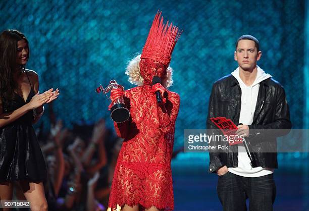 Lady Gaga accepts the award for Best New Artist from Eminem during the 2009 MTV Video Music Awards at Radio City Music Hall on September 13 2009 in...