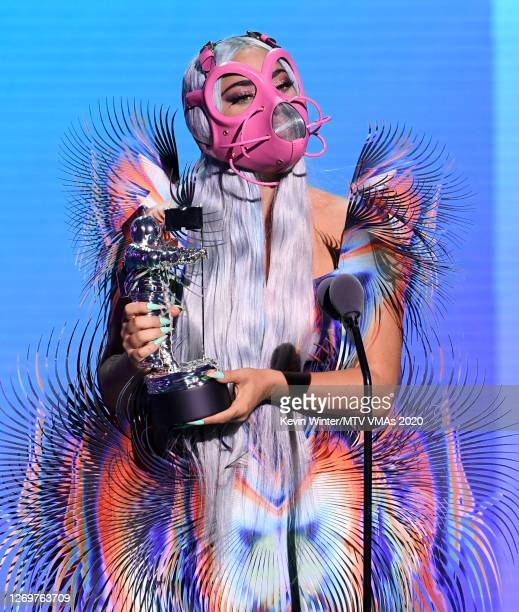 Lady Gaga accepts the Best Collaboration award for Rain on Me with Ariana Grande onstage during the 2020 MTV Video Music Awards broadcast on Sunday...